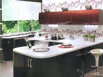 Кухня П-образная – низ 150см х 240см х 260см, вверх прямая 240см  фасад Мдф крашеный Ral глянец 9005/3032