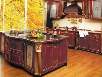 Кухня прямая 270см с островом 180см фасад Массив Ясеня Т512/116 с патиной золото-(БЕРТА)