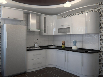 Кухня угловая 260см х 220см фасад Пост-3 Снежный