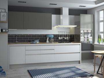 Кухня прямая 360см Акрил Сахар/Песок