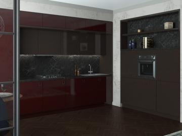 Кухня прямая слева 300см, справа 180см Акрил Вишня/ Трюфель