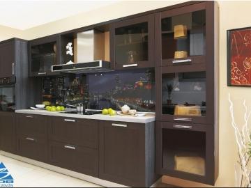 Кухня прямая 330см  фасад мдф рамочный Техно-1 ПП каштан