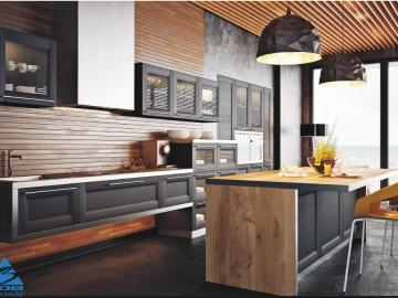 Кухня прямая 260см с островом 180см фасад мдф рамочный Марсель-3 ПП Винтаж