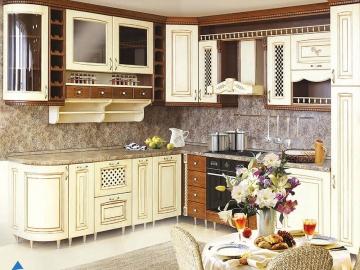 Кухня угловая 252см х 290см фасад Массив Т ясень 512/112-(БЕРТА)